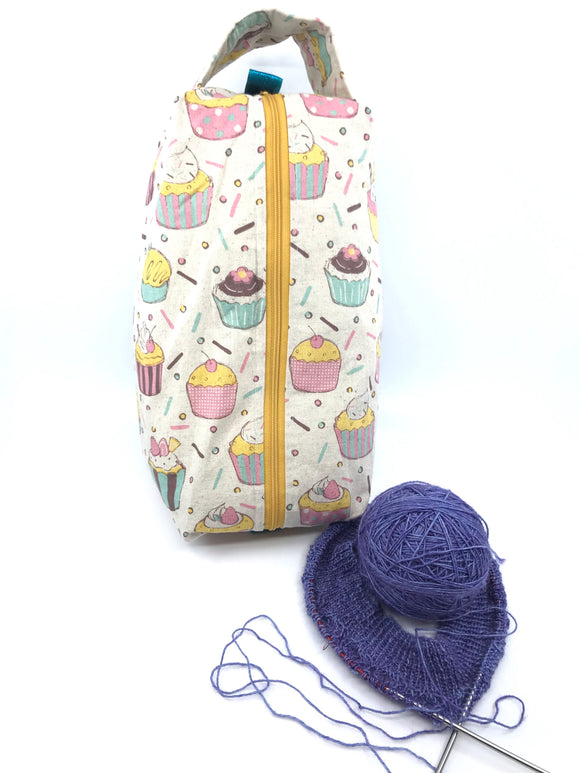 Large Box Bag || Celebration Cupcakes on Natural || Japanese Fabric Project Bag