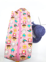 Large Box Bag || All the Animals on Pink || Japanese Fabric Project Bag