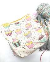 Small Wedge Bag || Celebration Cupcakes on Natural || Japanese Fabric Project Bag