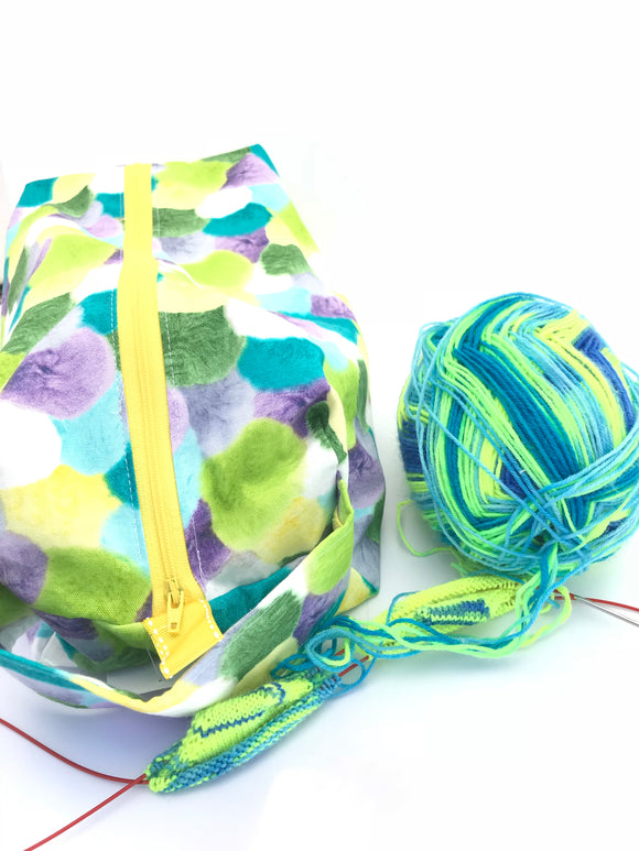 Large Box Bag || Vibrant Pom Poms || Project Bag