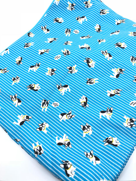 Fabric Envelope || Bow Wow Frenchies on Bright Blue White Striped Background