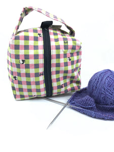 Small Box Bag || Sassy Cat in Pink, Purple, And Green Gingham || Japanese Fabric Project Bag