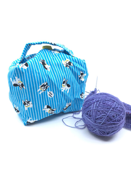 Small Box Bag || Bow Wow Frenchies on Light Blue || Japanese Fabric Project Bag