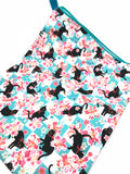 Fabric Envelope || Sassy Cat Amongst Sakura on Teal Checkerboard