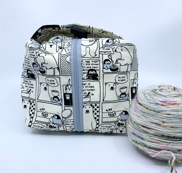 Small Box Bag || Polar Bear Making Pancakes in Monochrome Grey || Japanese Fabric Project Bag