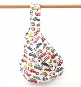 Knot Bag || Patterned Automobiles on White || Knitting Project Bag
