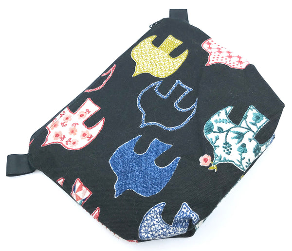 Small Wedge Bag || Embroidery Print Birds on Black || Knitting Project Bag for Socks, Shawls, or Accessories