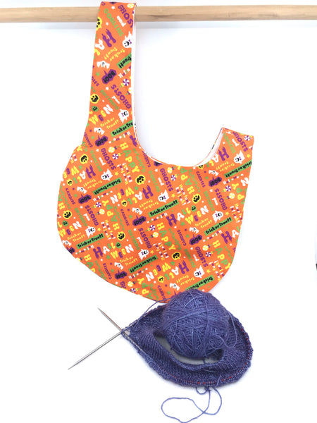 Knot Bag || Have Fun Eat Junk Halloween Print on Orange || Japanese Fabric Project Bag