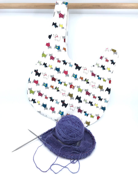Knot Bag || Scotties in Sweaters on White || Japanese Fabric Project Bag