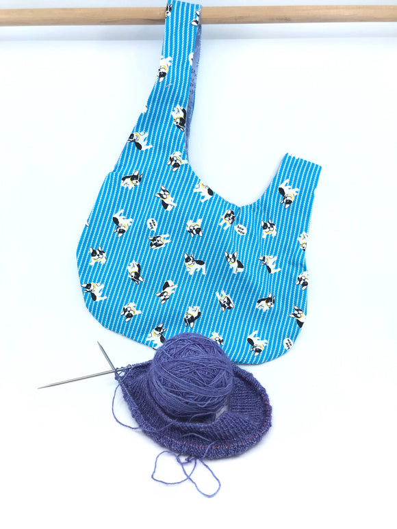 Knot Bag || Bow Wow Frenchies on Blue || Japanese Fabric Project Bag