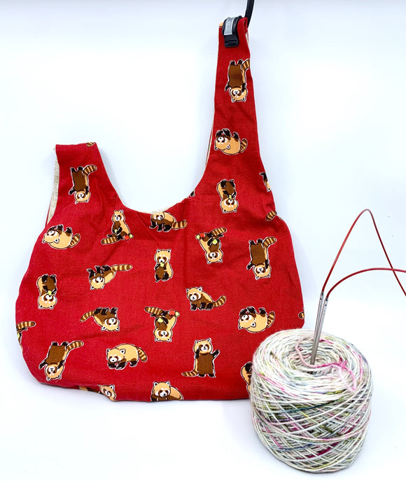 Knot Bag | Red Pandas on Red