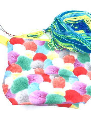 Small Wedge Bag || Clown Pom Poms || Project Bag