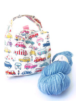 Small Box Bag || Patterned Automobiles on White || Knitting Project Bag