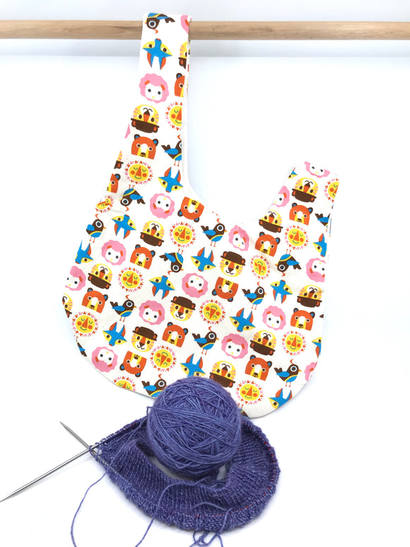 Knot Bag || Cute Animals on Ivory || Japanese Fabric Project Bag
