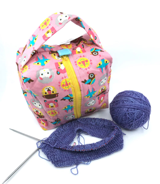Small Box Bag || All the Animals on Pink with Yellow Zipper || Japanese Fabric Project Bag