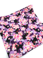 Fabric Envelope || Sassy Cat Amongst Cherry Blossoms on Purple Checkerboard
