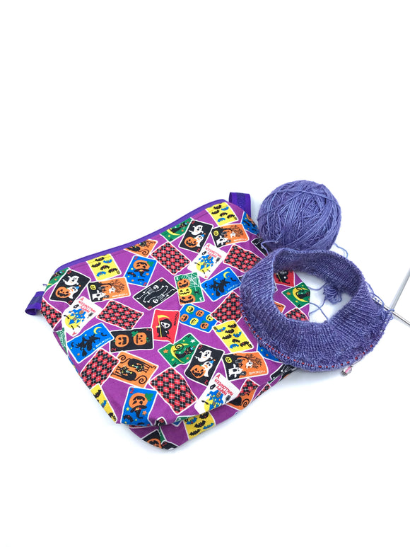 Small Wedge Bag || Halloween Cards on Purple || Japanese Fabric Project Bag