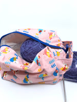 Small Box Bag || Peppy Budgies on Pink || Japanese Fabric Project Bag
