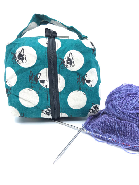 Small Box Bag || Frenchies on Dark Teal with Natural Polka Dots || Japanese Fabric Project Bag