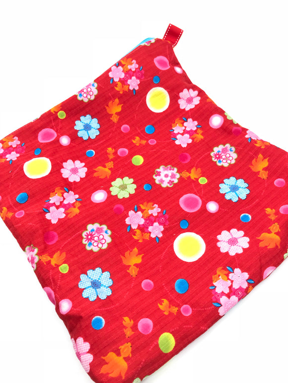 Fabric Envelope || Matsuri (Festival) Fish on Bright Cherry Res