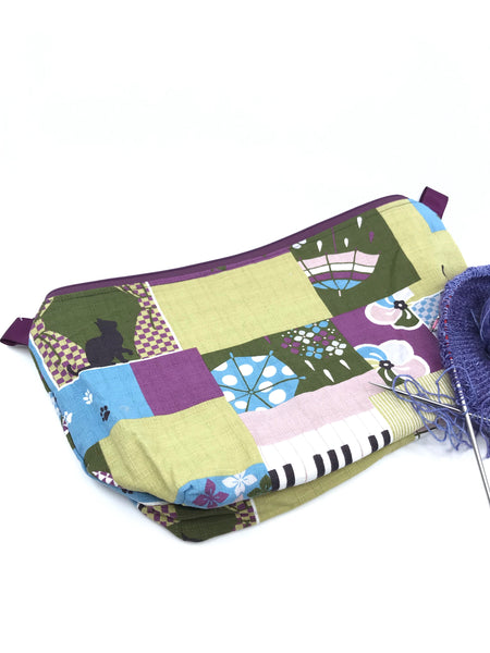 Sassy Cat Rainy Days in Purples and Greens || Japanese Fabric Large Wedge Bag
