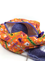 Small Box Bag || Have Fun Eat Junk Halloween Print on Orange || Japanese Fabric Project Bag