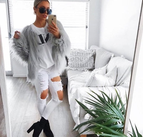 FAUX FUR COAT - LIGHT GREY - Lily and Fox Boutique