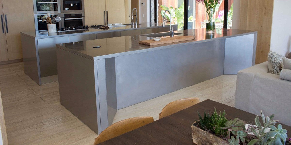 Unique Double Stainless Steel Kitchen Island - Reed Interiors