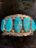 Vintage 11 Stone Turquoise Bracelet - Handmade by Fatoya Yazzie Navajo - One of a kind