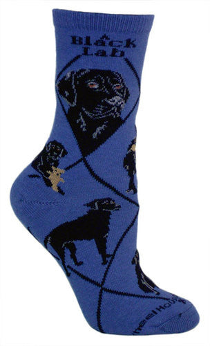 Black Lab on blue - Made in USA - Dog Socks