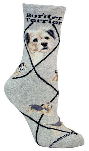 Border Terrier on gray - Made in USA - Dog Socks