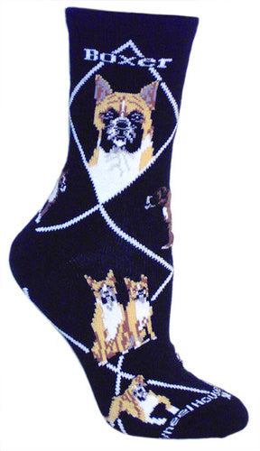 Boxer on black - Made in USA - Dog Socks