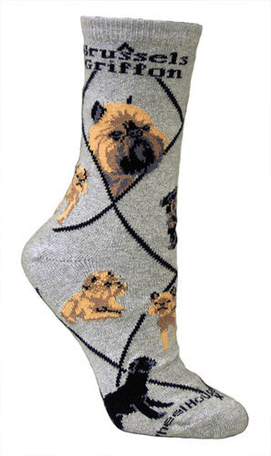 Brussels Griffon on Gray - Made in USA - Dog Socks
