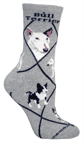 Bull Terrier on gray - Made in USA - Dog Socks