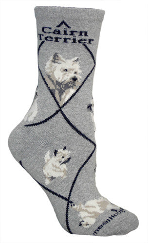 Cairn Terrier on gray - Made in USA - Dog Socks