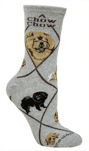 Chow Chow on gray - Made in USA - Dog Socks