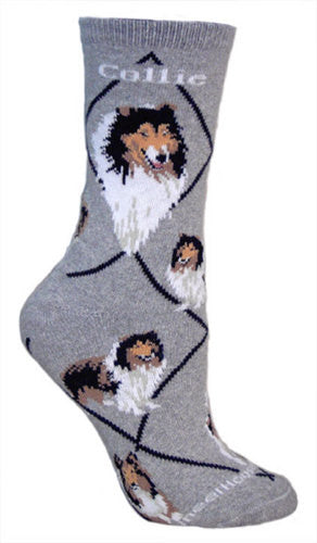 Collie on gray - Made in USA - Dog Socks - Lassie