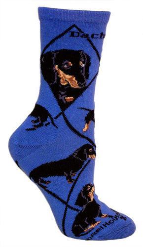 Black Dachshund on blue - Made in USA - Dog Socks