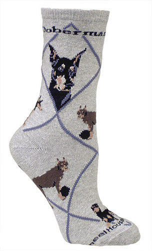 Doberman on gray - Made in USA - Dog Socks