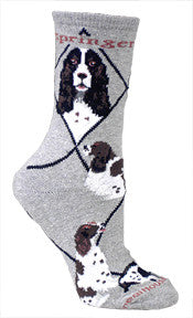 English Springer Spaniel on Gray - Made in USA - Dog Socks