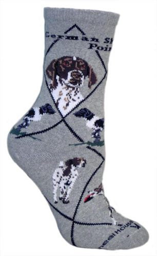 German Shorthaired Pointer on gray - Made in USA - Dog Socks