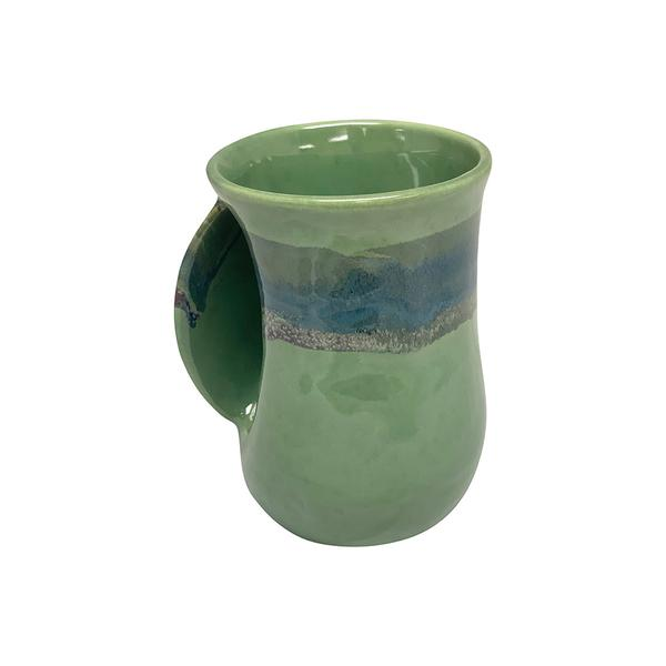 HANDWARMER MUG -  Made for Left and Right Handed - Made in USA - MISTY GREEN GLAZE