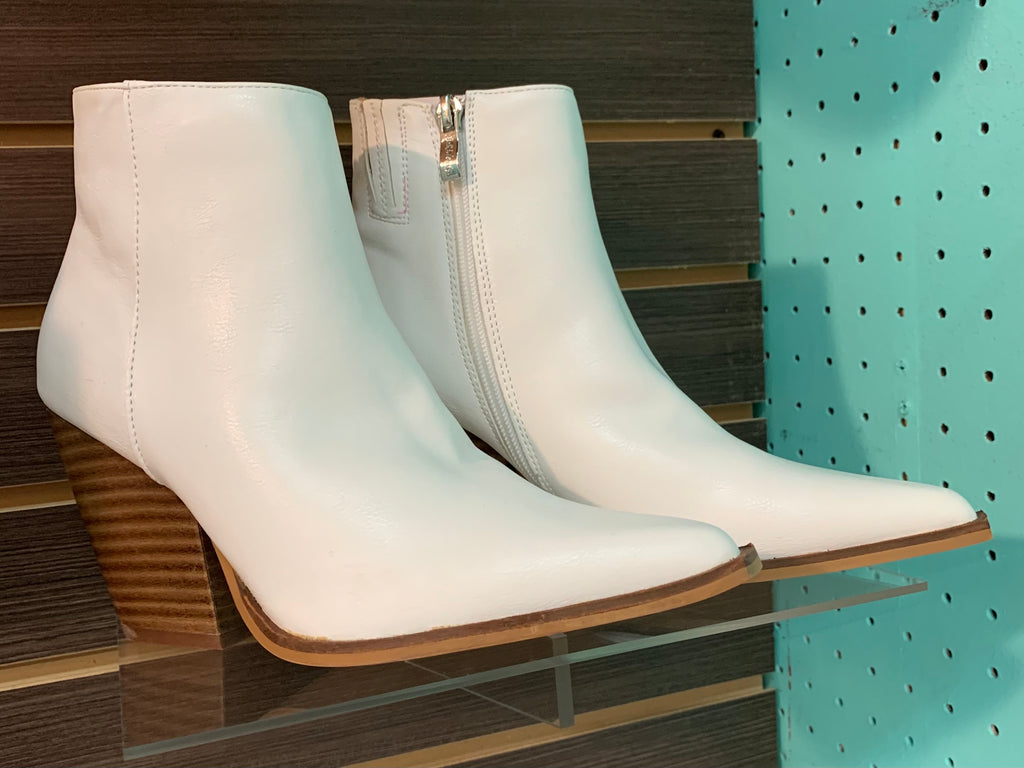 White/Wood Ankle Boot