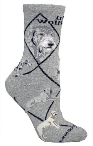 Irish Wolfhound on gray - Made in USA - Dog Socks