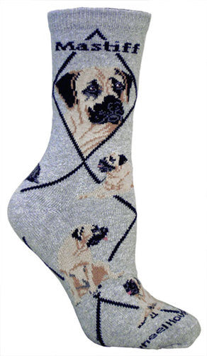 Mastiff on gray - Made in USA - Dog Socks
