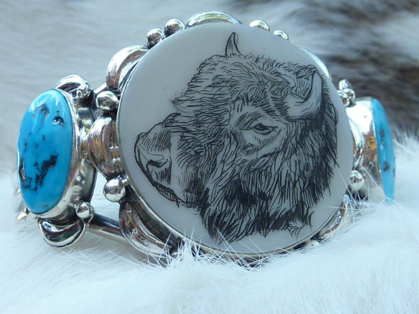Navajo Scrimshaw Buffalo and Turquoise Cuff Bracelet