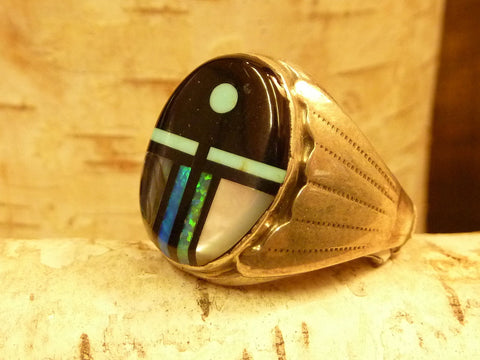 NATIVE AMERICAN JEWELRY - STERLING SILVER AND Boulder Turquoise RING SIZE 10 – HAND MADE IN USA