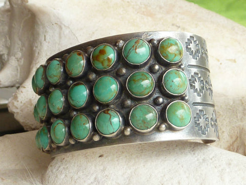 Sterling Silver and Turquoise Cuff Bracelet Hallmarked D Sterling - Handmade in the state of New Mexico