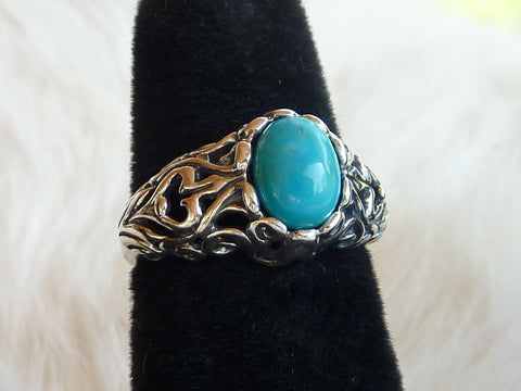 NATIVE AMERICAN JEWELRY - STERLING SILVER AND CARVED TURQUOISE EAGLE RING – HAND MADE IN THE USA