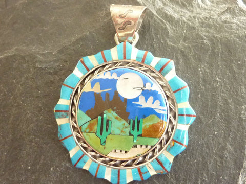 Native American Multi-Color Stone Inlay Arrowhead Necklace Pendant - Sterling Silver, Turquoise, Jasper and Wild Horse Jewelry - Hand Made by Edison Yazzie